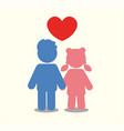 children icon couple icon with heart love vector image vector image