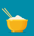 chinese cuisine food rice with bowl and chopsticks vector image vector image