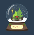 christmas snow globe with tree vector image vector image