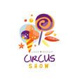 circus show logo design carnival festive vector image vector image