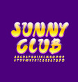 colorful logo sunny club playful font vector image vector image