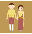 couple man woman wearing thai traditional costume vector image vector image