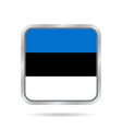 flag of Estonia shiny metallic gray square button vector image vector image