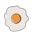 fried egg in watercolor silhouette on white vector image