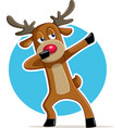 funny dabbing reindeer cartoon vector image vector image