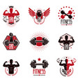 gym weightlifting and fitness sport club logos vector image