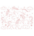 hand drawn cartoon unicorns outline set isolated vector image