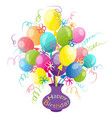happy birthday card with doodle hand drawn vector image vector image