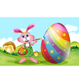 Happy Easter with bunny painting egg vector image vector image