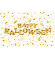 happy halloween gold glitter balloon lettering on vector image vector image