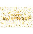 happy halloween gold glitter balloon lettering