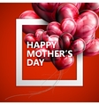 Happy Mothers Day label with flying balloon hear vector image vector image