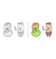 hare boy confesses in love gives flower girl shy vector image vector image