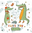I like you You are cute Beautiful card with hand vector image vector image
