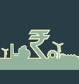 indian rupee symbol and industrial icons vector image vector image