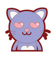 line color enamored cat adorable feline animal vector image vector image