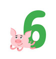number six with cute cartoon pig isolated on white vector image vector image