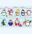 penguins celebrate christmas vector image vector image