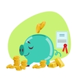 Piggy Bank Savings Protected By Insurance Contract vector image vector image