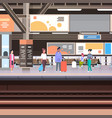 railway station platform with passengers waiting vector image
