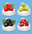 realistic berries set in yogurt vector image vector image
