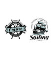 sailing cruise logo or label marine themes vector image vector image