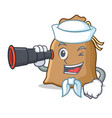 sailor with binocular sack mascot cartoon style vector image vector image