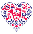 scandinavian heart shape folk art pattern vector image