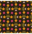 Seamless background with sugar skulls and flowers vector image