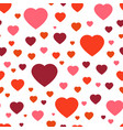 seamless pattern red hearts on white vector image vector image