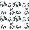 seamless pattern tile cartoon with panda toy vector image