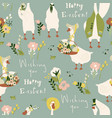 seamless pattern with cartoon gooses and flowers vector image
