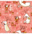 Seamless Pattern with girl and deer vector image