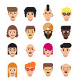 set of 16 flat avatars icons male and female vector image vector image