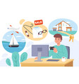 shopping online happy man chooses product vector image vector image