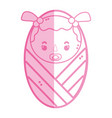 silhoutte baby girl with pacifier and hairstyle vector image vector image