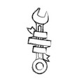 spanner tool with ribbon around monochrome blurred vector image vector image