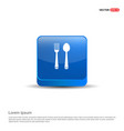 spoon and fork icon - 3d blue button vector image