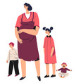 unhappy or tired pregnant woman with children vector image vector image