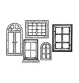 windows wooden engraving vector image vector image