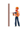 worker workman builder in helmet overalls and vector image