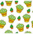 yellow flowerpot seamless pattern gardening vector image vector image