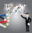 Businessman with world map and Thumb down vector image