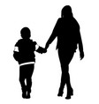 silhouette of woman and child walking vector image