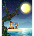 A father and child fishing vector image vector image