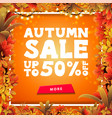 autumn sale orange square discount banner with vector image