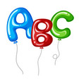balloons with alphabets shapes abc vector image vector image