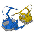 blue and yellow engineering machine on white vector image vector image