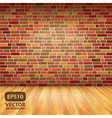 brick wall wood floor vector image