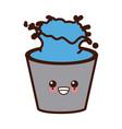 bucket with water cute kawaii cartoon vector image